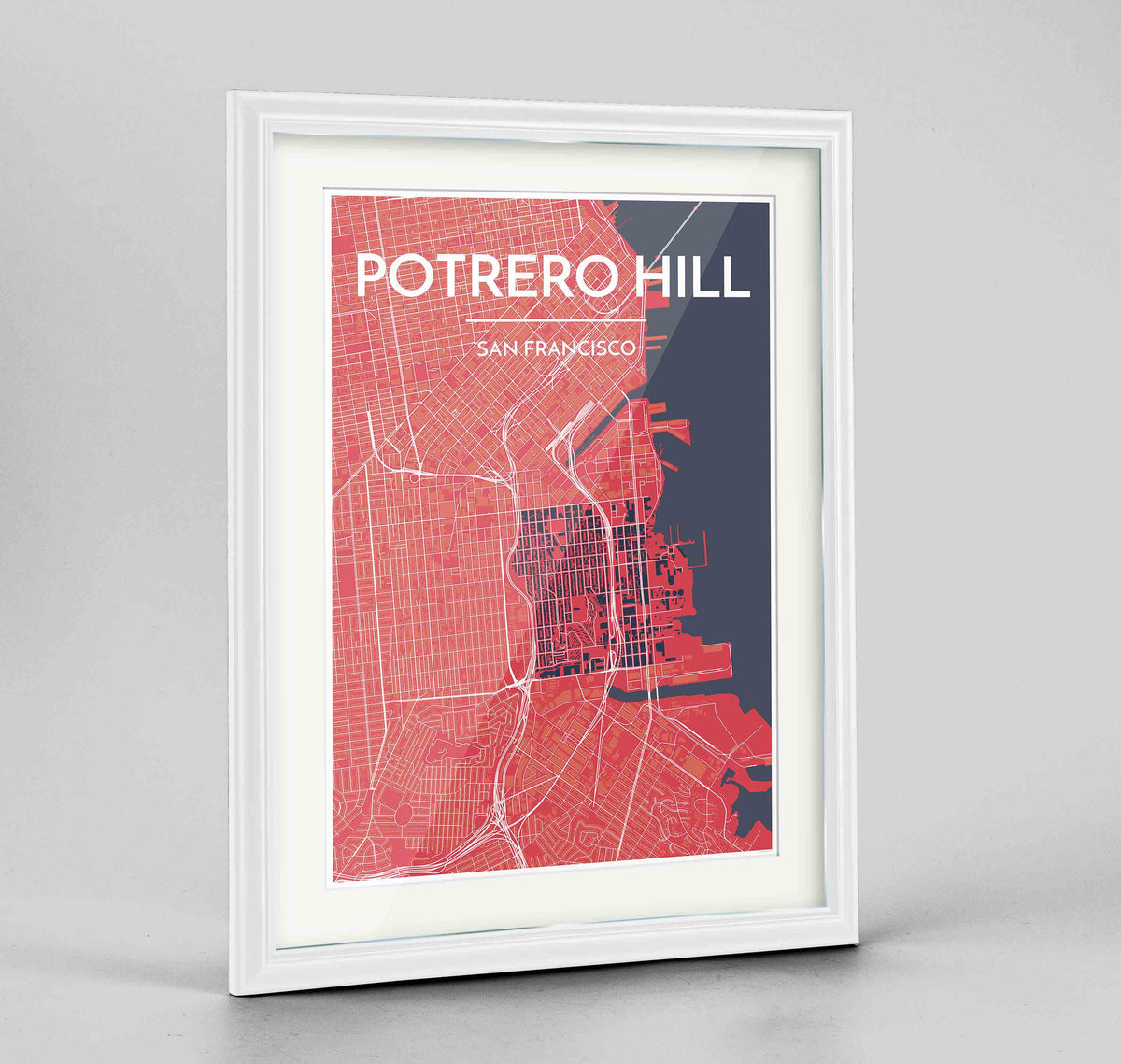 "Framed Potrero Hill San Francisco Map Art Print 24x36"" Traditional White frame Point Two Design Group"
