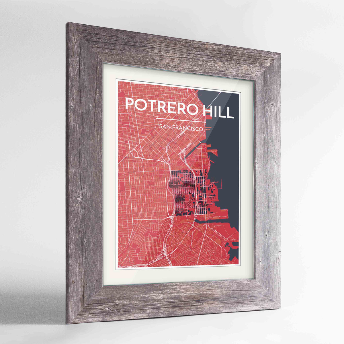 "Framed Potrero Hill San Francisco Map Art Print 24x36"" Western Grey frame Point Two Design Group"