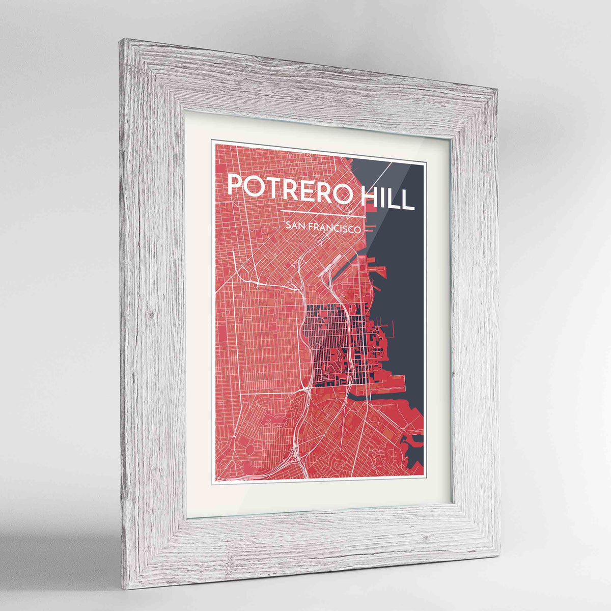 "Framed Potrero Hill San Francisco Map Art Print 24x36"" Western White frame Point Two Design Group"