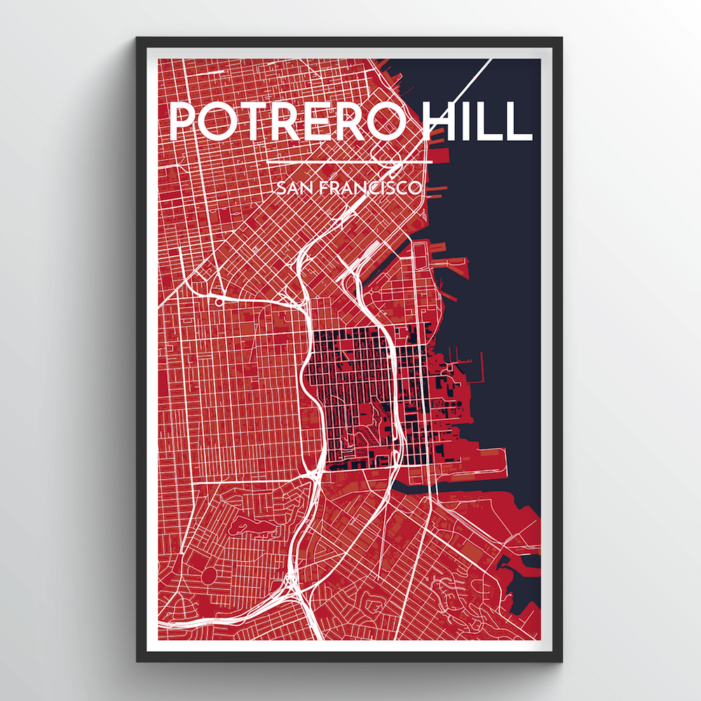 Potrero Hill San Francisco Map Art Print - Point Two Design