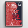 Potrero Hill San Francisco City Map Art Print - Point Two Design