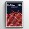 Russian Hill San Francisco City Map Art Print - Point Two Design