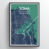 SOMA San Francisco City Map Art Print - Point Two Design