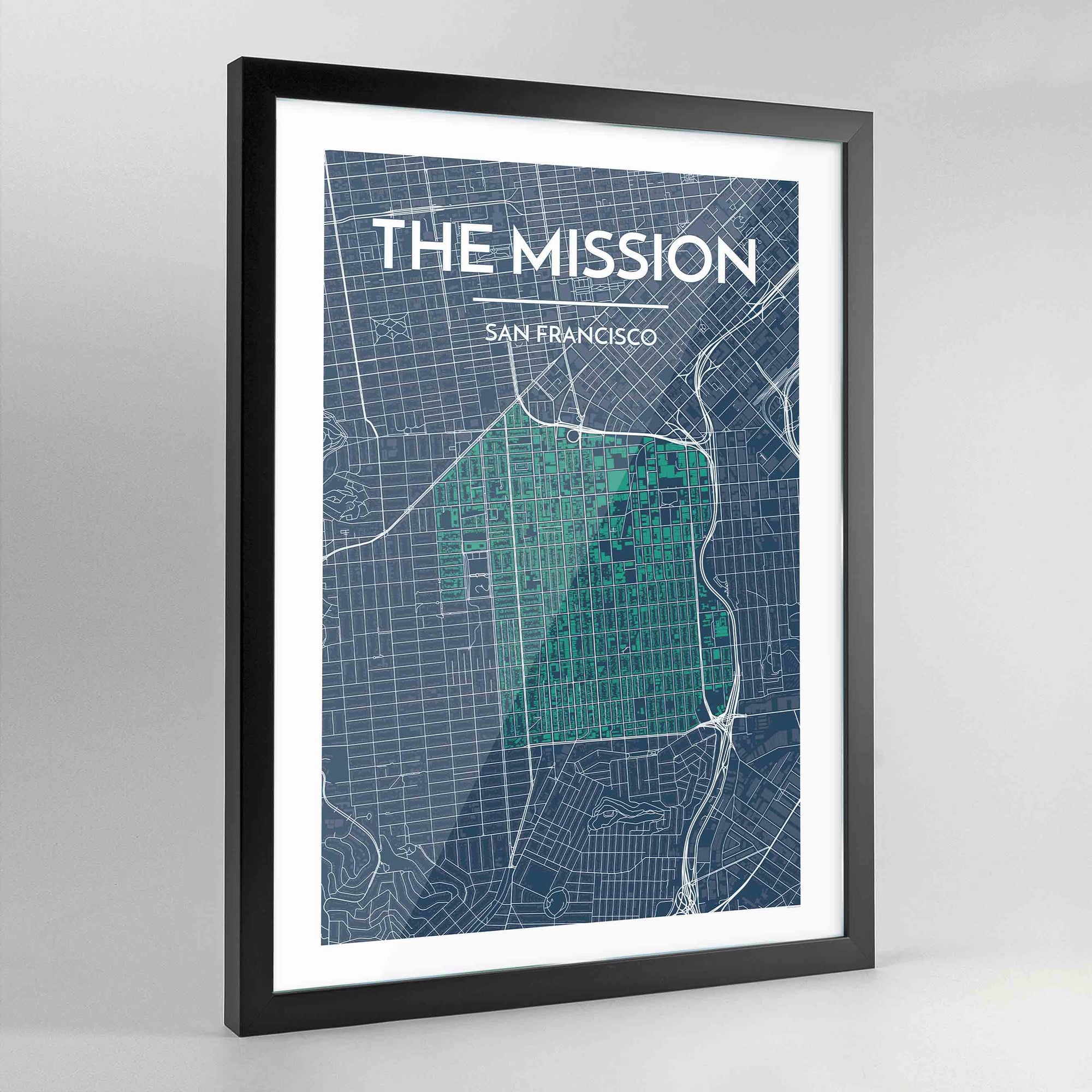 Framed The Mission San Francisco City Map Art Print - Point Two Design