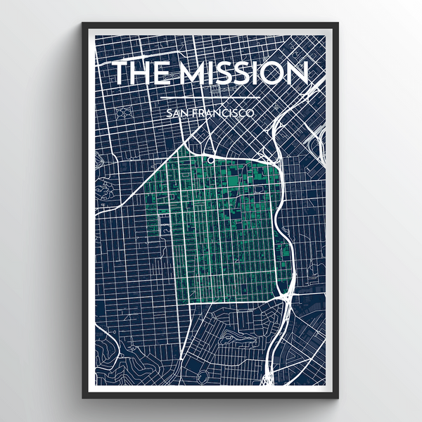 The Mission San Francisco City Map Art Print - Point Two Design