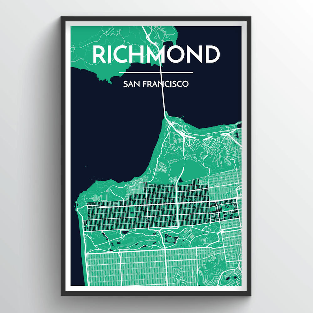The Richmond District San Francisco City Map Art Print - Point Two Design