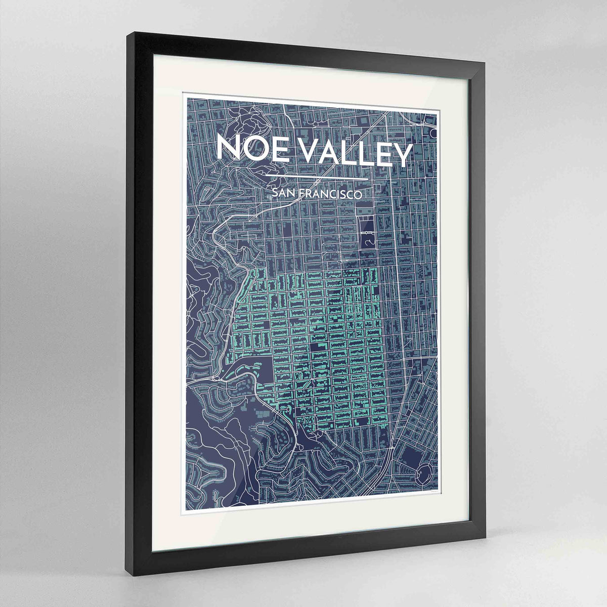 "Framed Noe Valley, San Francisco Map Art 24x36"" Contemporary Black frame Point Two Design Group"