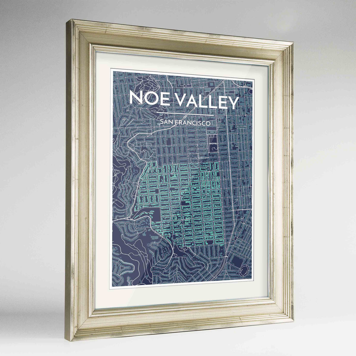 "Framed Noe Valley, San Francisco Map Art 24x36"" Champagne frame Point Two Design Group"