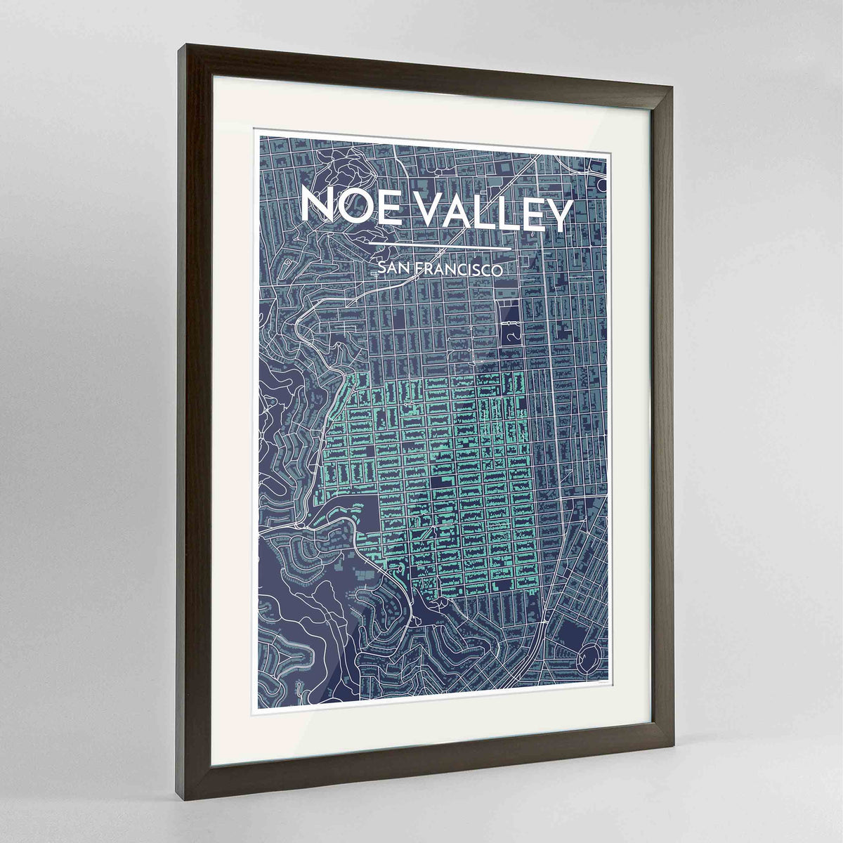 "Framed Noe Valley, San Francisco Map Art 24x36"" Contemporary Walnut frame Point Two Design Group"