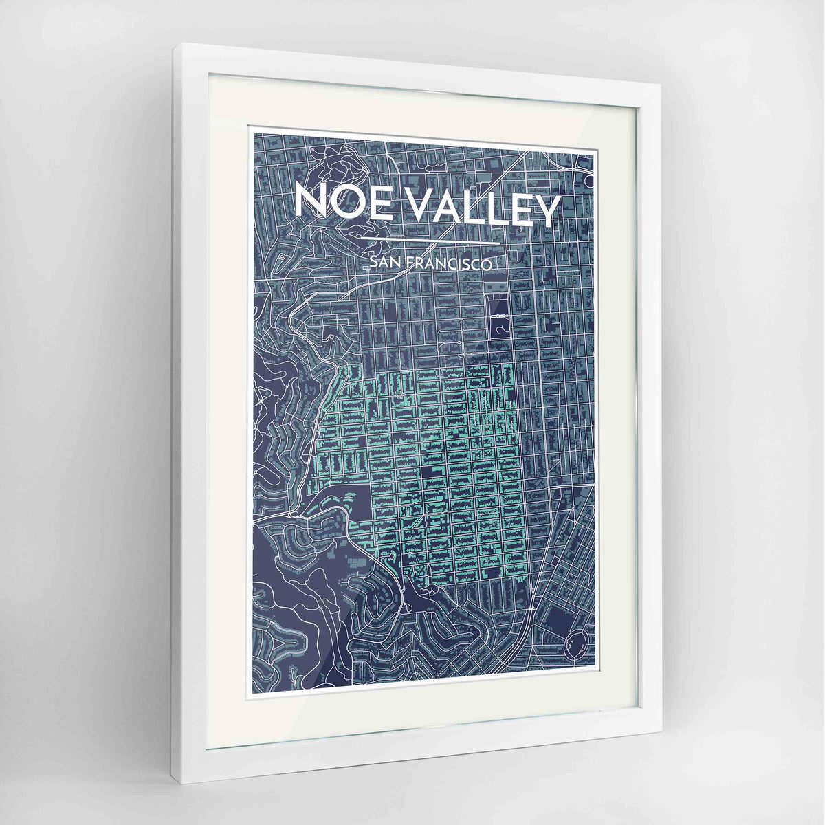 "Framed Noe Valley, San Francisco Map Art 24x36"" Contemporary White frame Point Two Design Group"