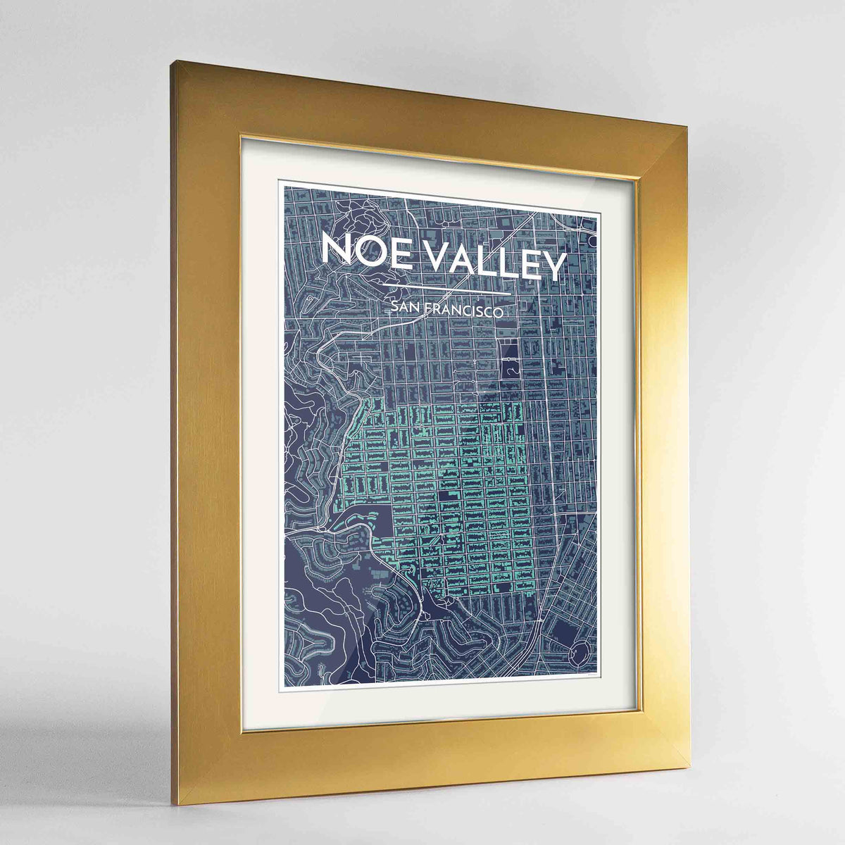 "Framed Noe Valley, San Francisco Map Art 24x36"" Gold frame Point Two Design Group"