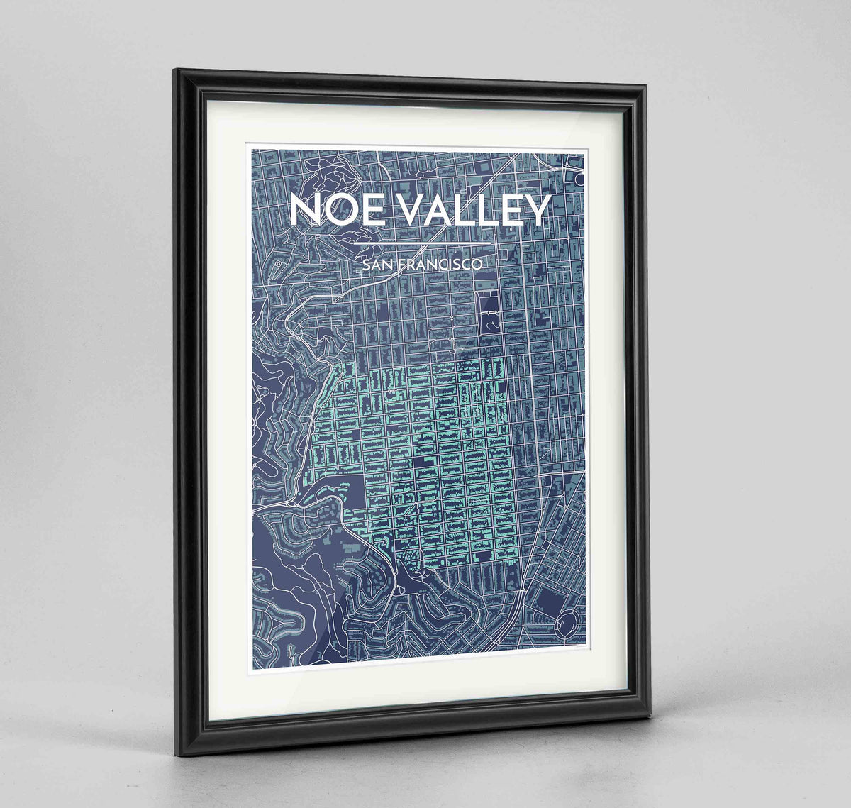 "Framed Noe Valley, San Francisco Map Art 24x36"" Traditional Black frame Point Two Design Group"