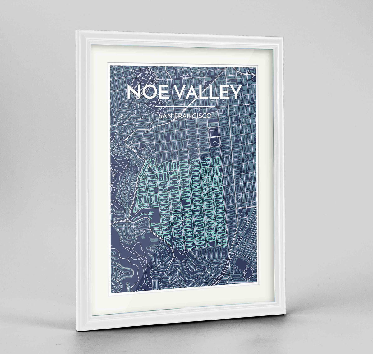 "Framed Noe Valley, San Francisco Map Art 24x36"" Traditional White frame Point Two Design Group"
