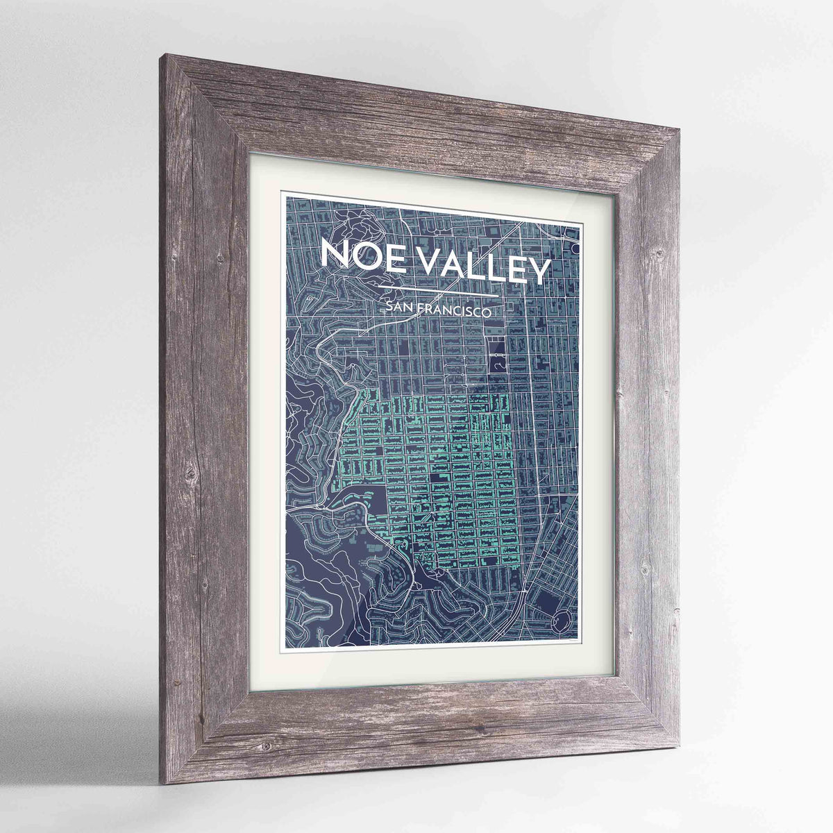 "Framed Noe Valley, San Francisco Map Art 24x36"" Western Grey frame Point Two Design Group"