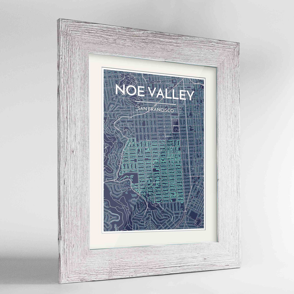 "Framed Noe Valley, San Francisco Map Art 24x36"" Western White frame Point Two Design Group"