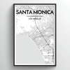 Santa Monica City Map Art Print - Point Two Design