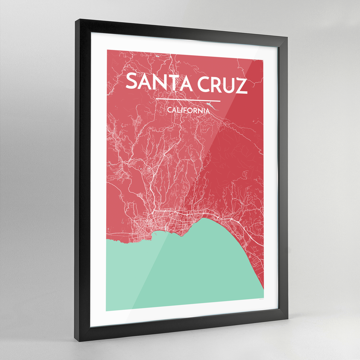 Framed Santa Cruz City Map Art Print - Point Two Design