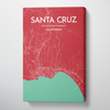 Santa Cruz City Map Canvas Wrap - Point Two Design