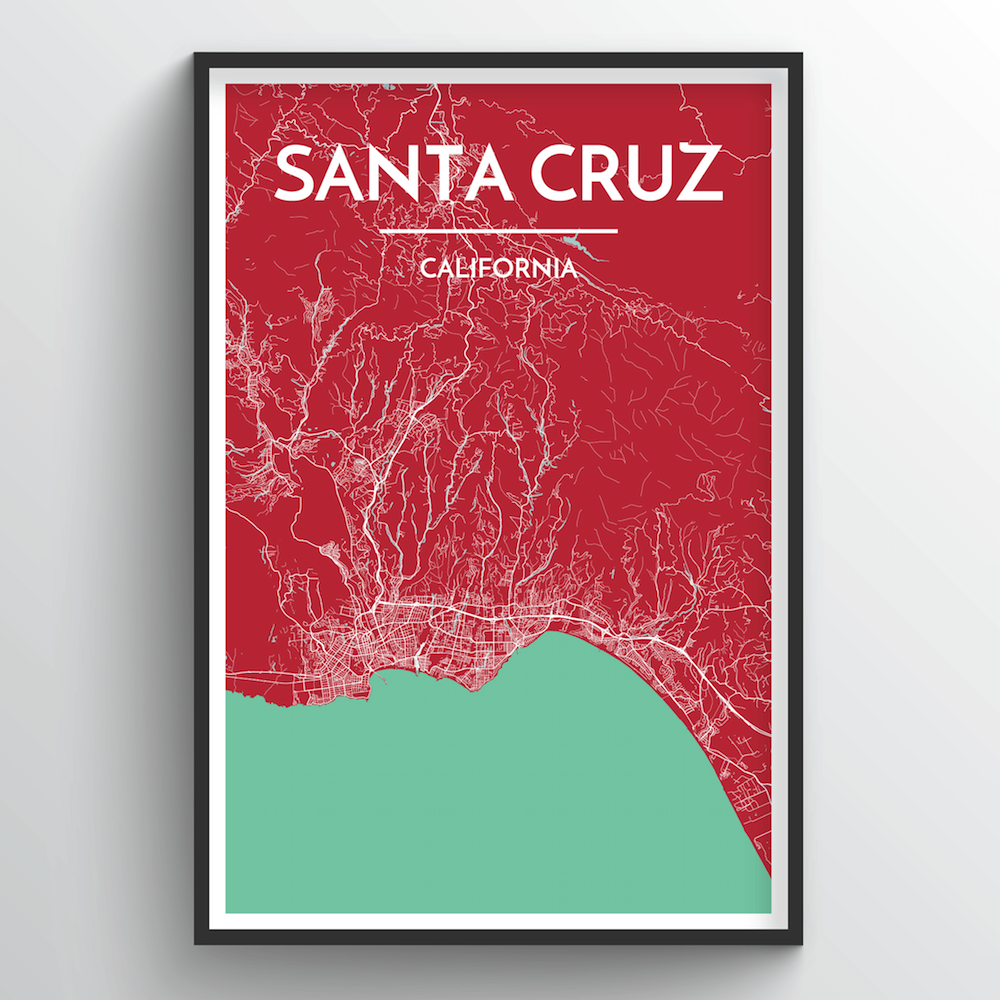 Santa Cruz City Map Art Print - Point Two Design