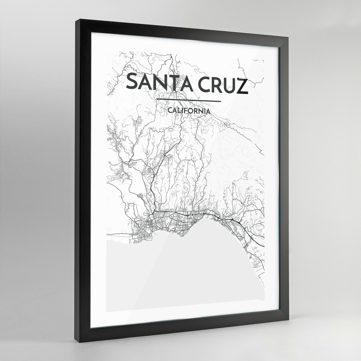 Santa Cruz Map Art Print - Framed