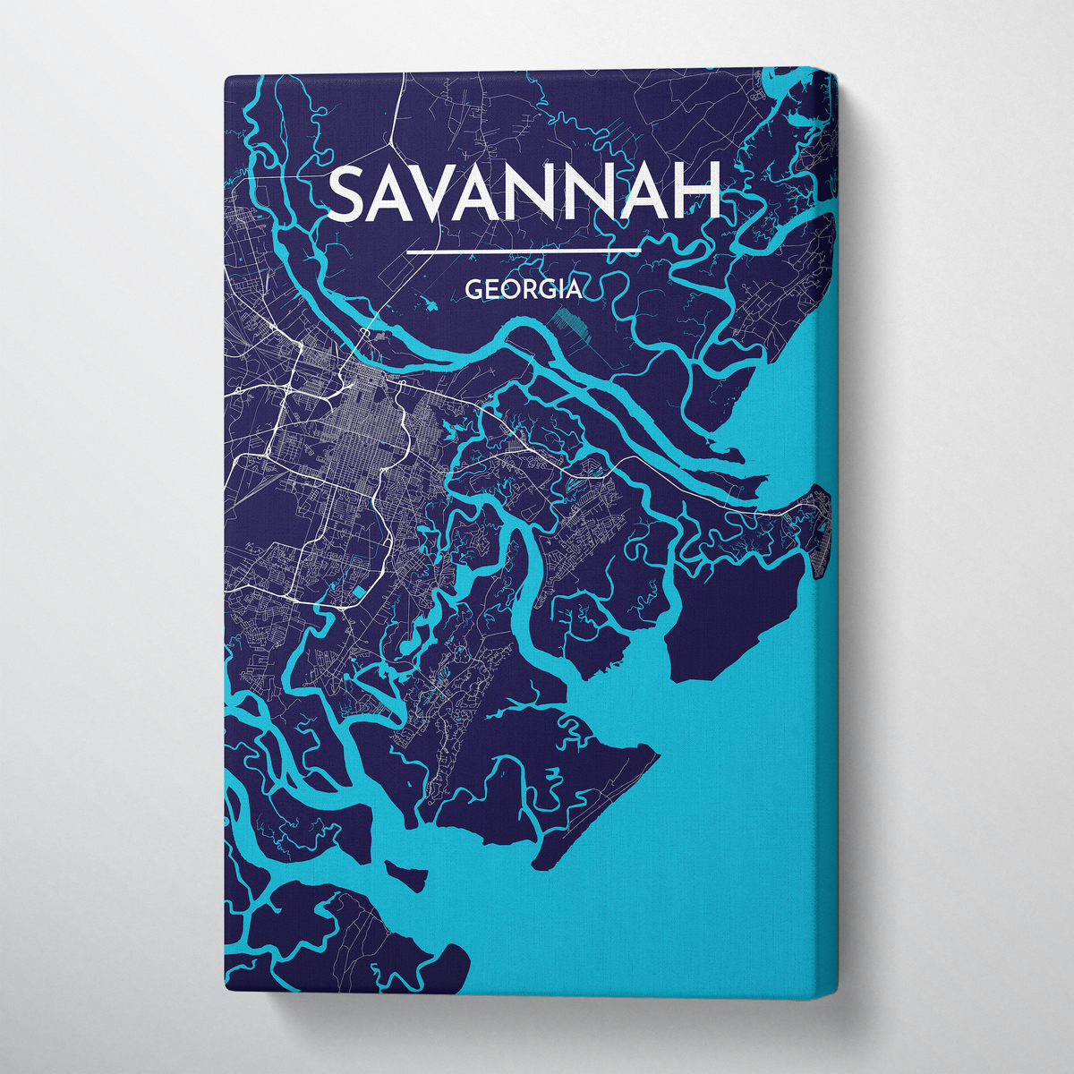 Savannah City Map Canvas Wrap - Point Two Design
