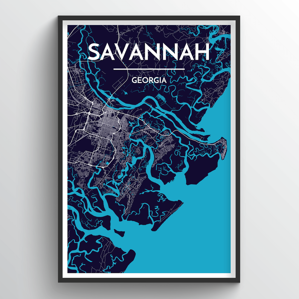 Savannah Map Art Print - Point Two Design