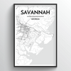 Savannah City Map Art Print - Point Two Design