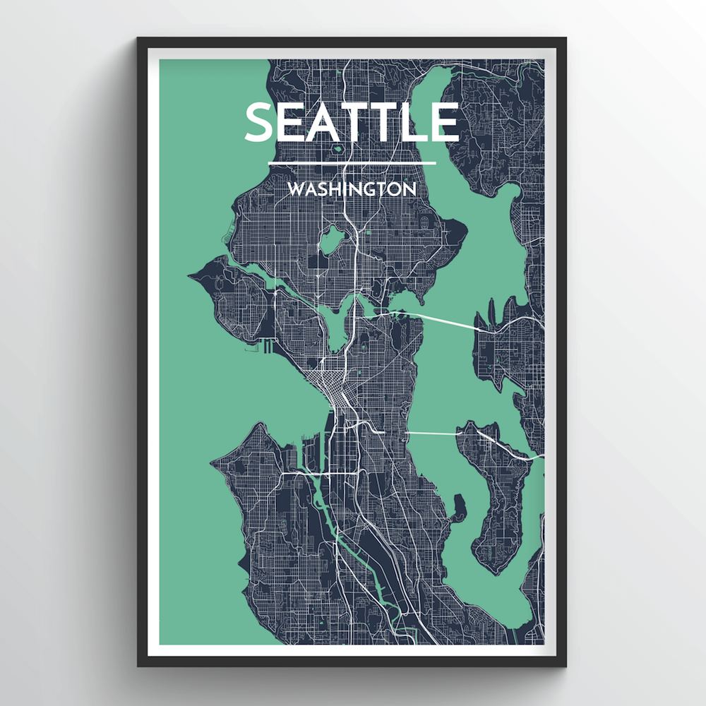 Seattle City Map Art Print - Point Two Design