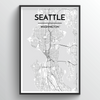 Seattle City Map Art Print - Point Two Design - Black & White Print
