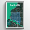 Seattle Ballard Neighbourhood City Map Art Print - Point Two Design