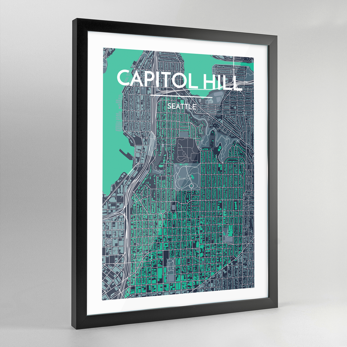 Framed Seattle Capitol Hill Neighbourhood City Map Art Print - Point Two Design