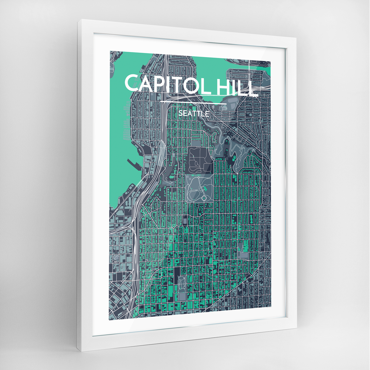 Seattle Capitol Hill Neighbourhood Map Art Print - Framed