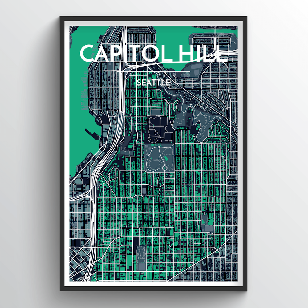 Seattle Capitol Hill Neighbourhood City Map Art Print - Point Two Design