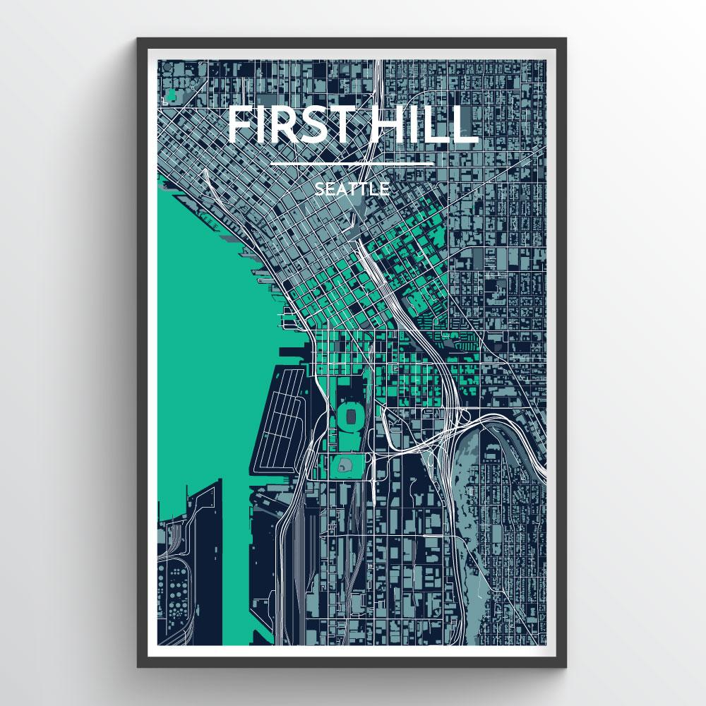 Seattle First Hill Neighbourhood City Map Art Print - Point Two Design