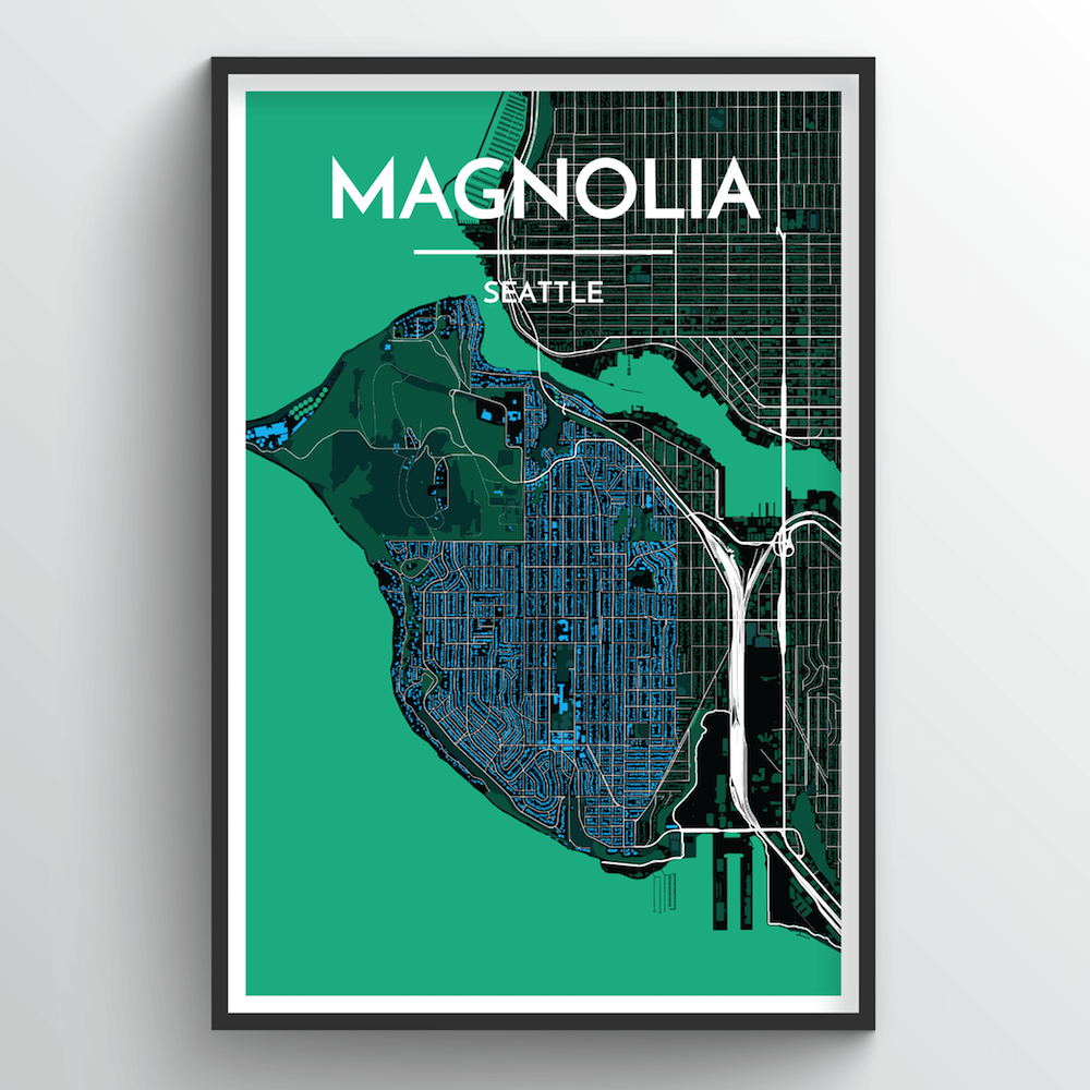 Seattle Magnolia Neighbourhood Map Art Print - Point Two Design