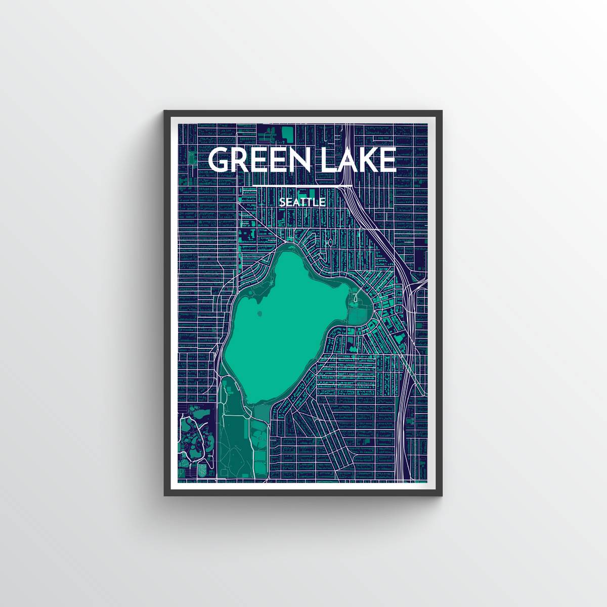 Seattle Green Lake Neighbourhood Map Art Print - Point Two Design