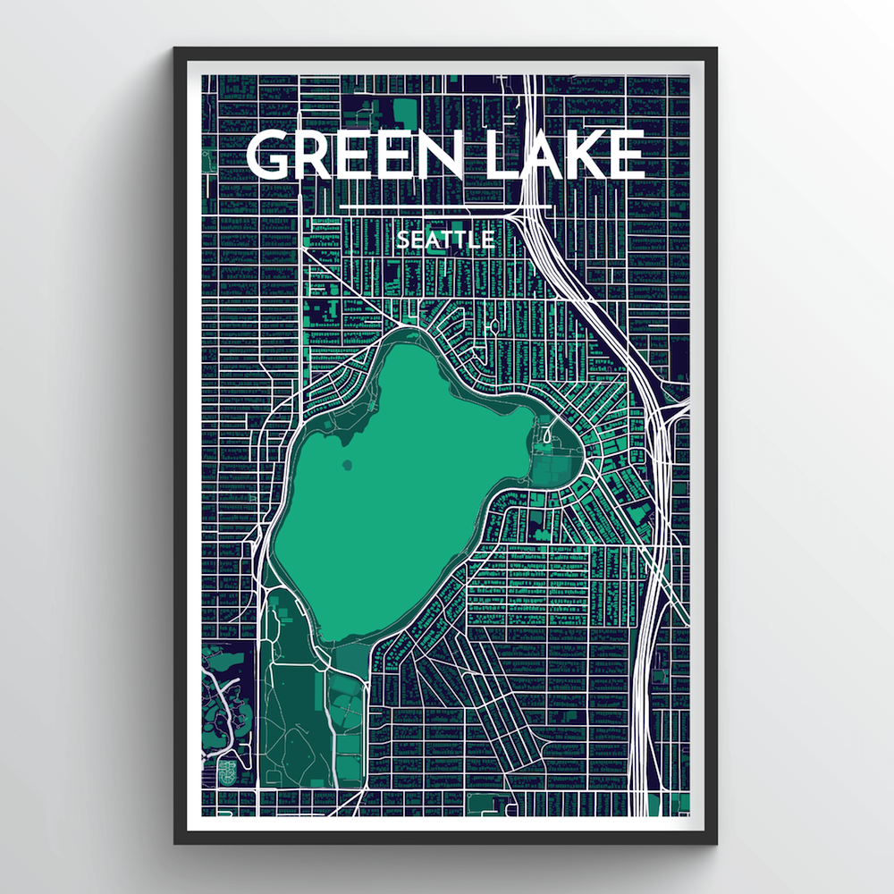 Seattle Green Lake Neighbourhood City Map Art Print - Point Two Design