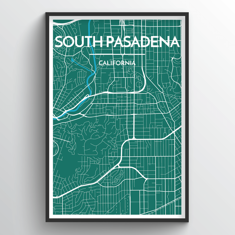 South Pasadena City Map Art Print - Point Two Design