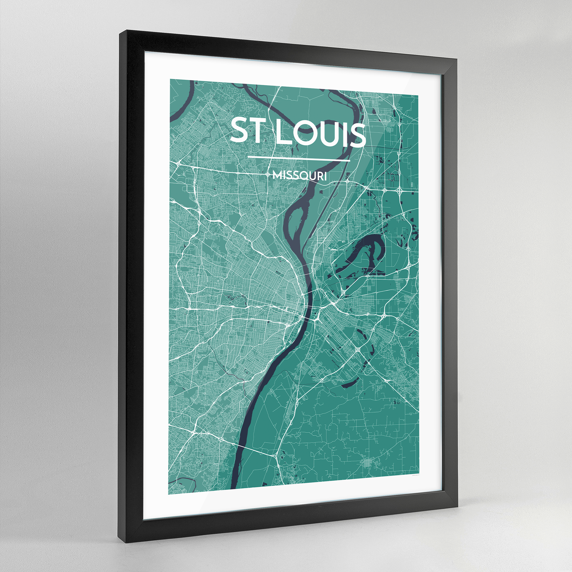 Framed St Louis City Map Art Print - Point Two Design