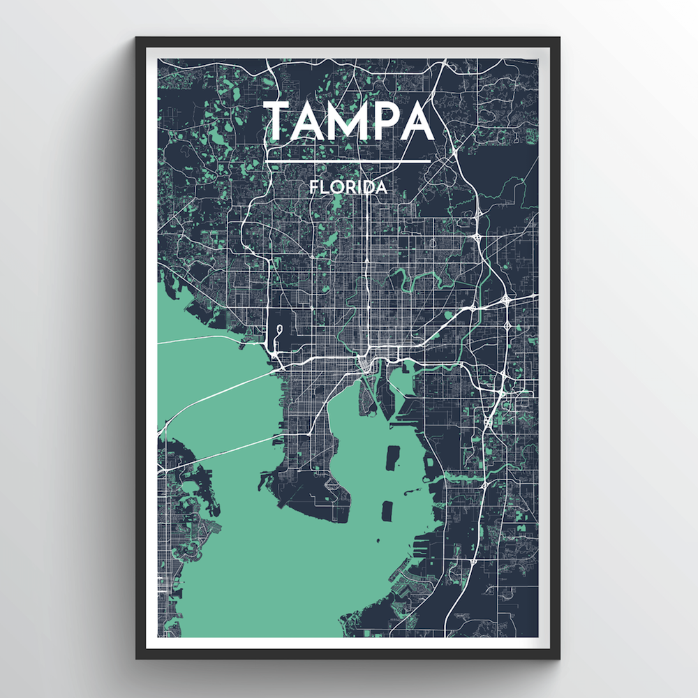 Tampa City Map Art Print - Point Two Design