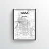 Tulsa City Map Art Print - Point Two Design