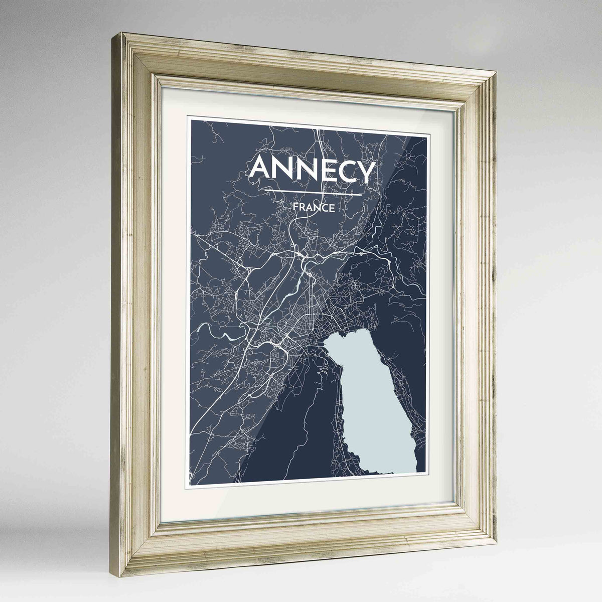 "Framed Annecy Map Art Print 24x36"" Champagne frame Point Two Design Group"