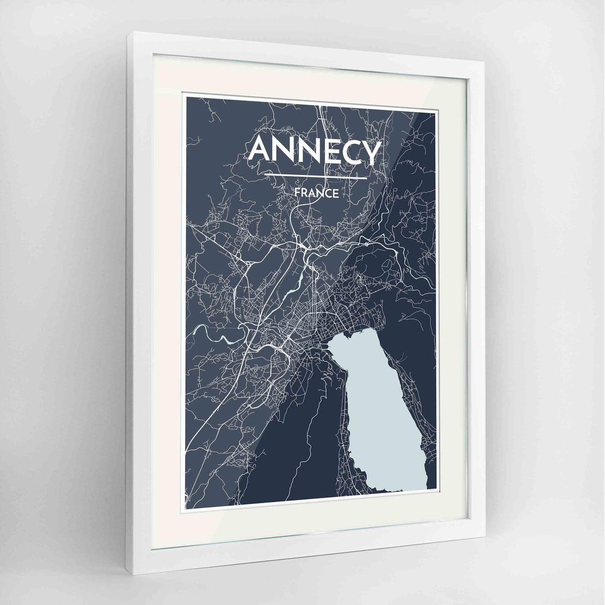 "Framed Annecy Map Art Print 24x36"" Contemporary White frame Point Two Design Group"