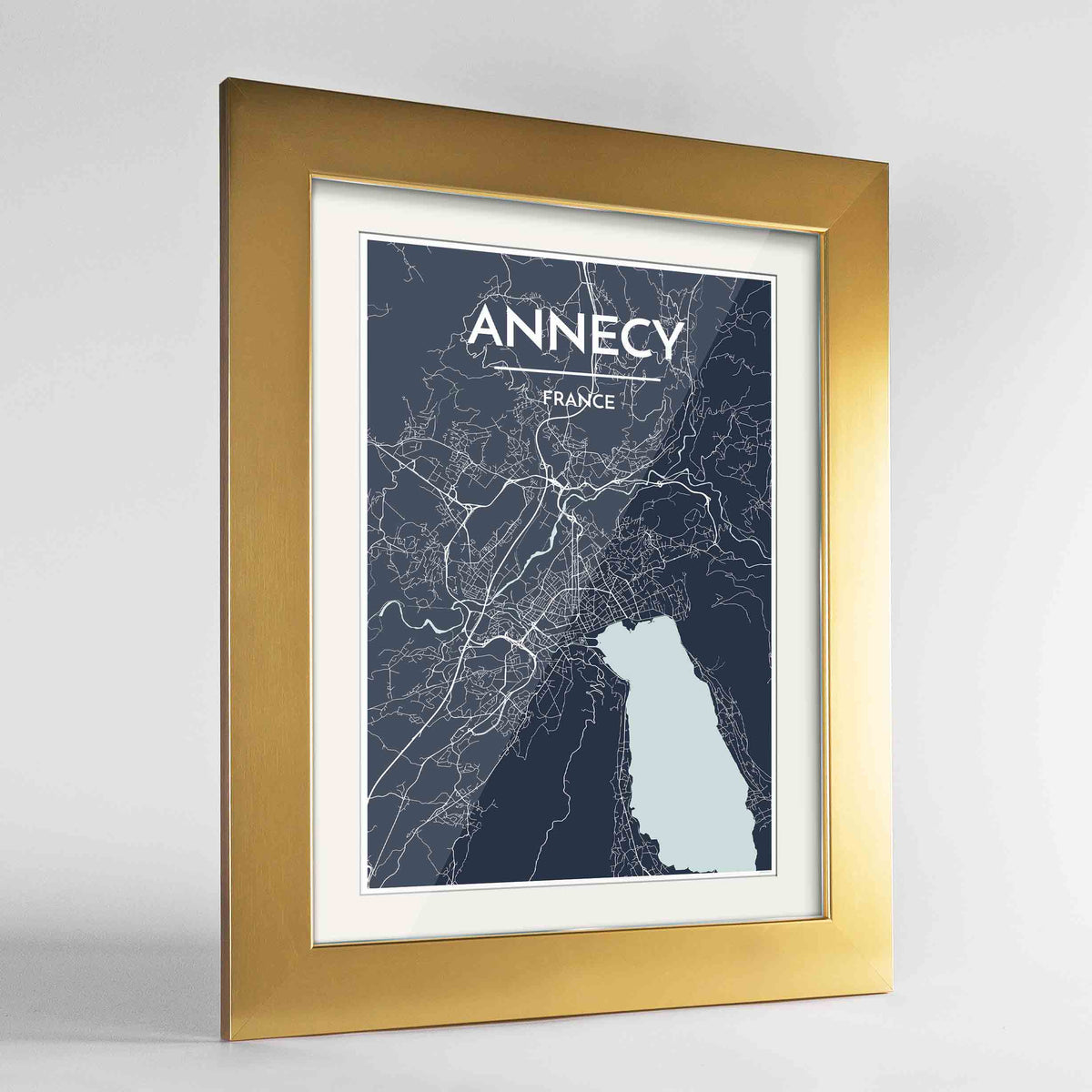 "Framed Annecy Map Art Print 24x36"" Gold frame Point Two Design Group"