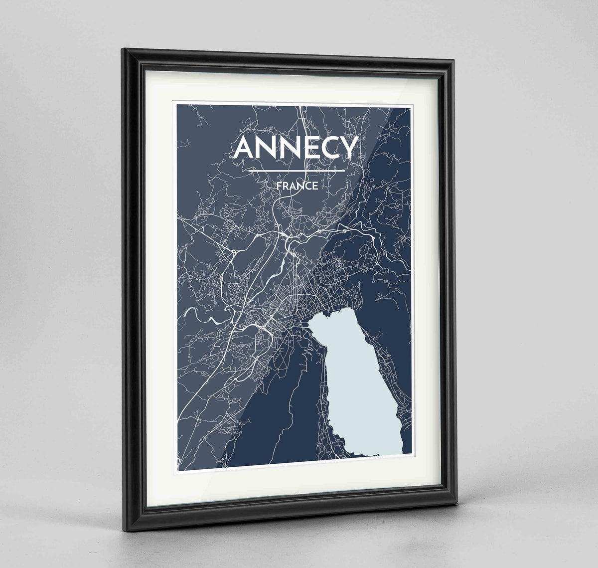 "Framed Annecy Map Art Print 24x36"" Traditional Black frame Point Two Design Group"
