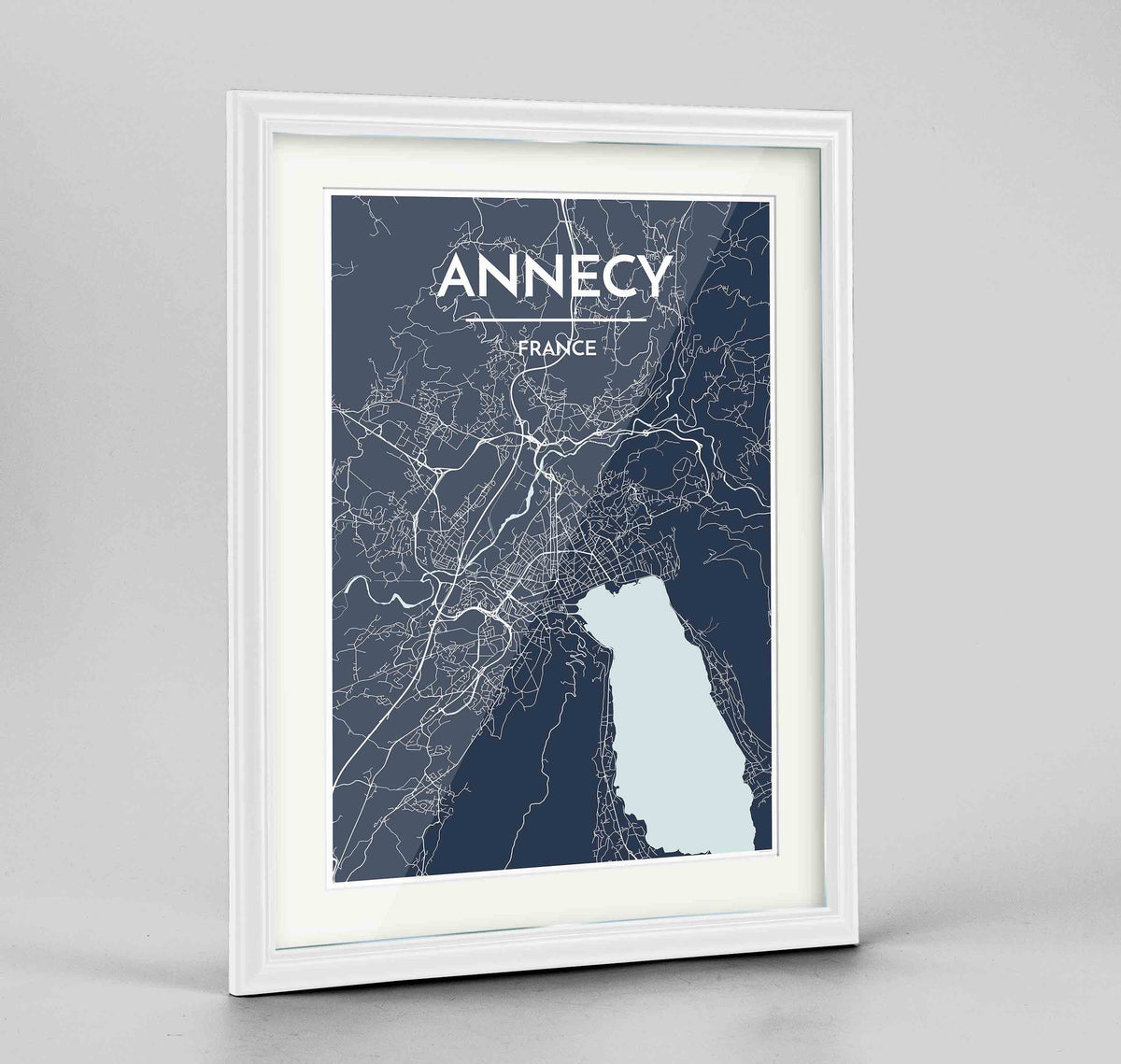 "Framed Annecy Map Art Print 24x36"" Traditional White frame Point Two Design Group"