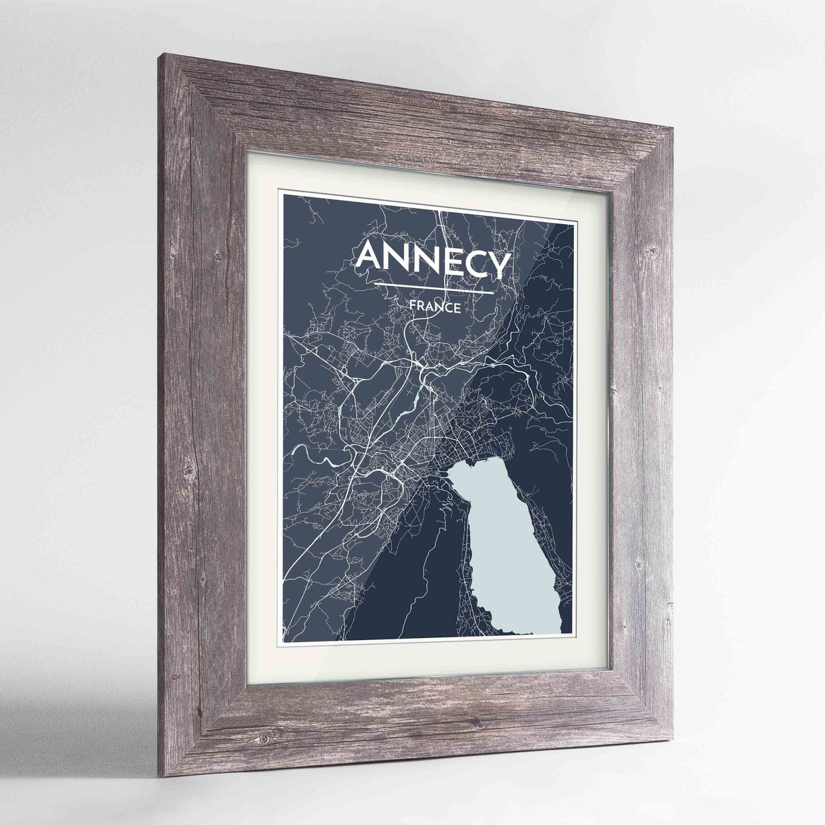 "Framed Annecy Map Art Print 24x36"" Western Grey frame Point Two Design Group"