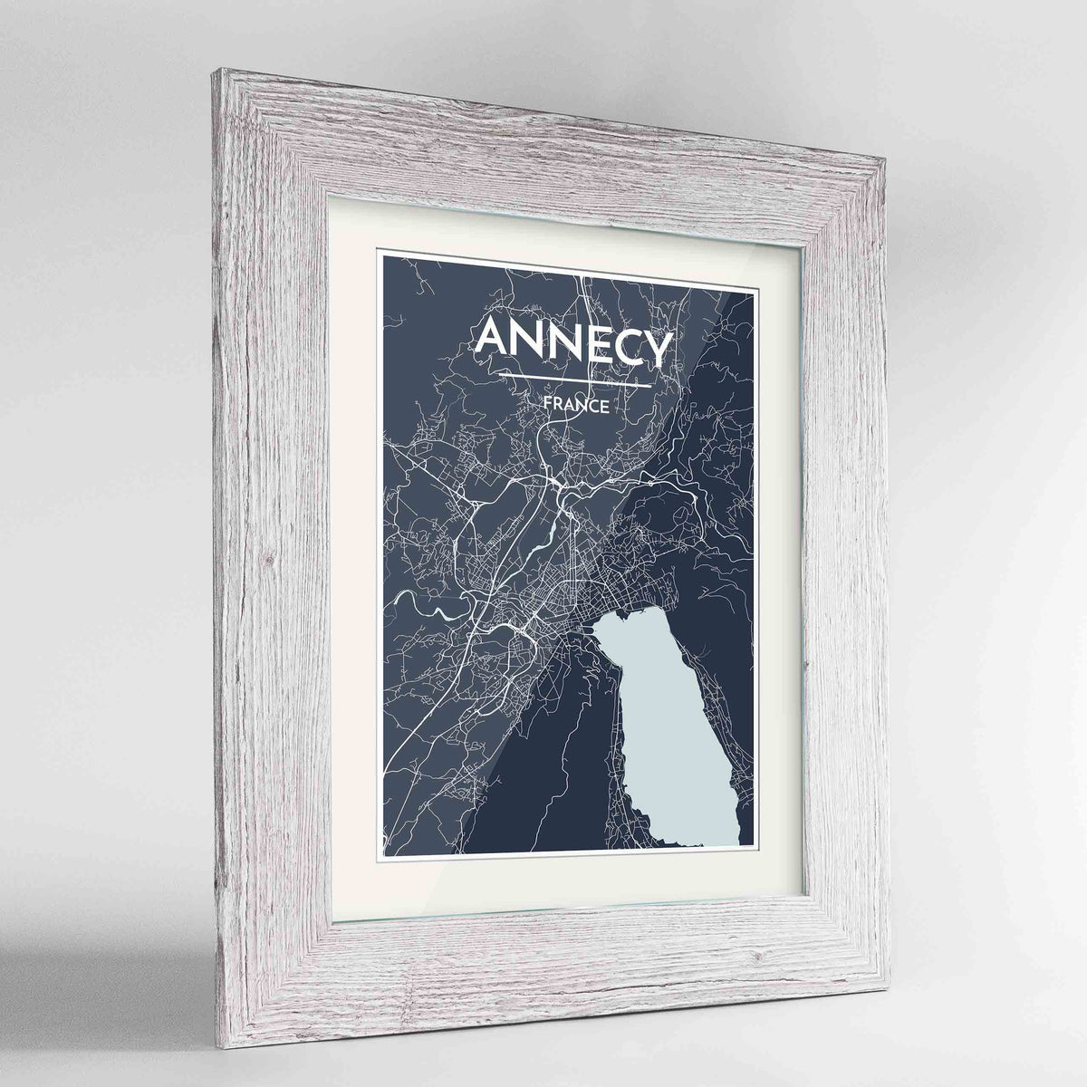 "Framed Annecy Map Art Print 24x36"" Western White frame Point Two Design Group"