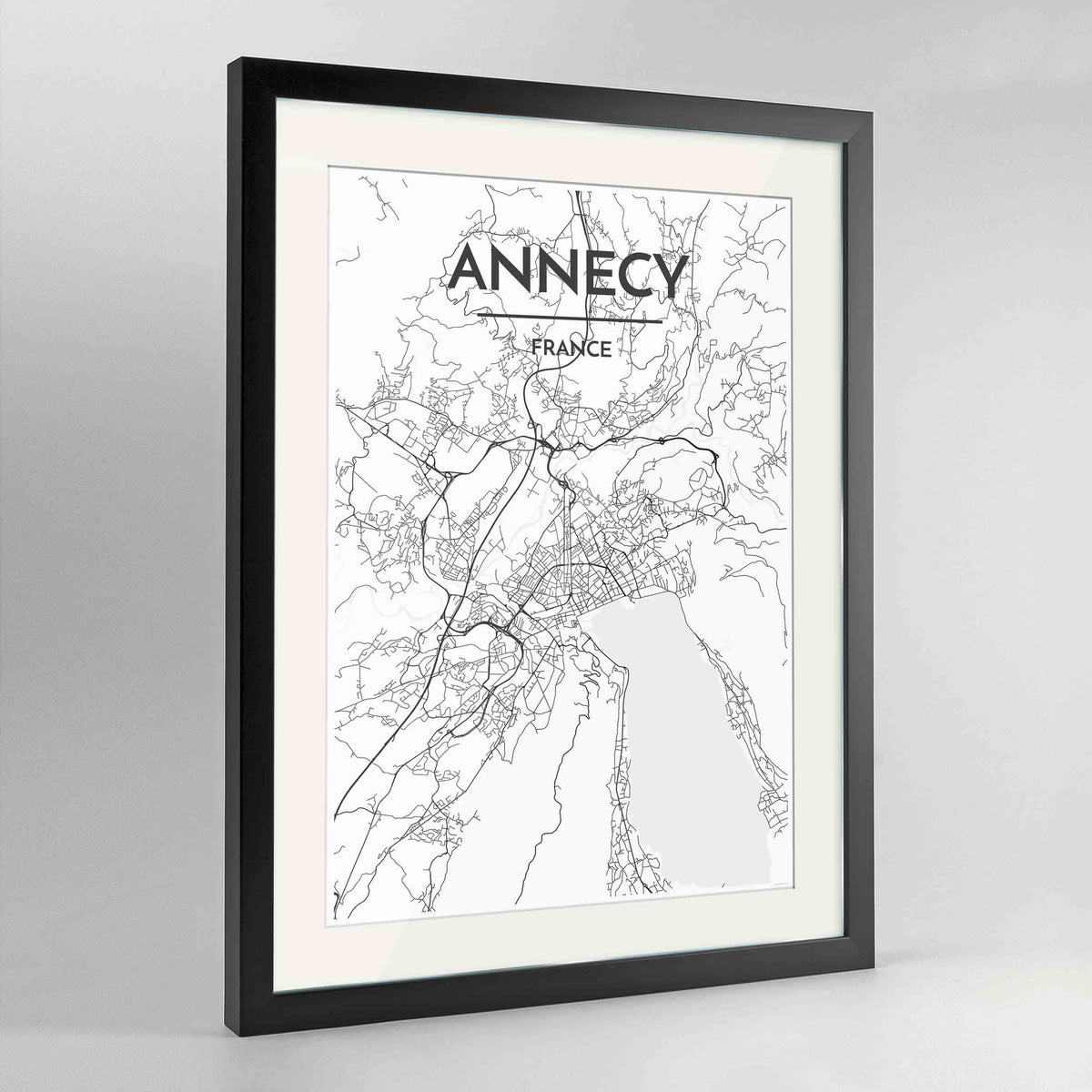 "Framed Annecy Map Art Print 24x36"" Contemporary Black frame Point Two Design Group"