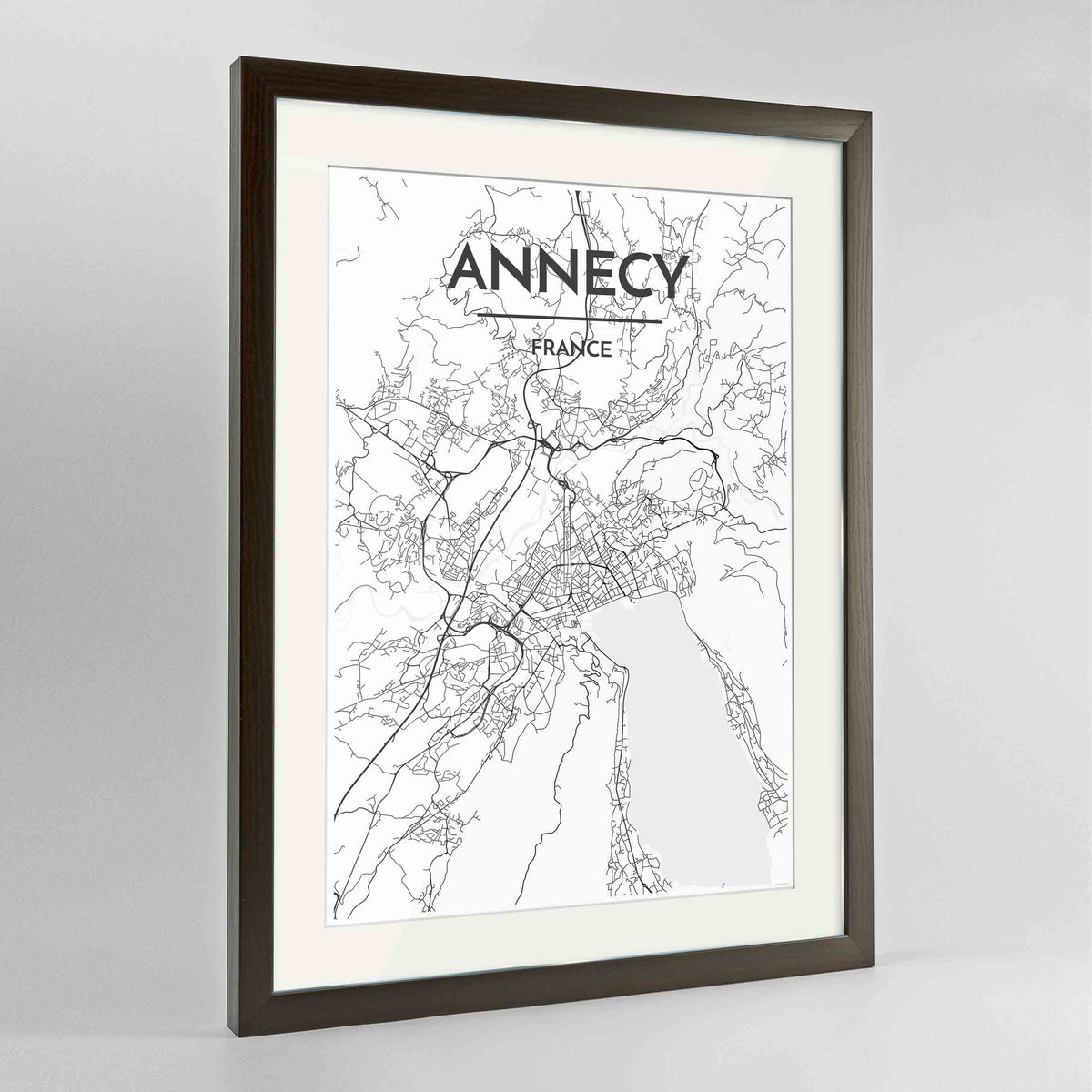 "Framed Annecy Map Art Print 24x36"" Contemporary Walnut frame Point Two Design Group"